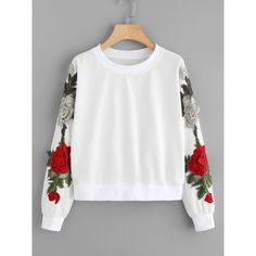 SheIn(sheinside) 3D Embroidered Applique Mesh Insert Pullover (€14) ❤ liked on Polyvore featuring tops, white, white long sleeve top, white pullover, long sleeve pullover, mesh inset top and embroidered top