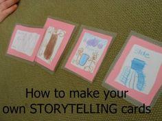 Kinderen zelf een setje kaarten laten maken: 4 series (personages/locaties/probleem of opdracht/object) van elk 4 kaarten. Kies van elk type 1 en verzin een verhaal.