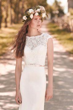 Lace and Crêpe Wedding Dress - Style #2053| Mikaella Bridal