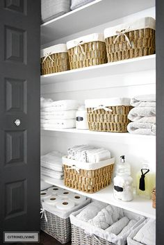 - Baskets and Boxes - ORGANIZED LINEN CLOSET: THE REVEAL Organized linen closet reveal! A fresh coat of paint, pretty baskets and major purging, it went from messy and cramped to spacious and airy! Linen Closet Organization, Bathroom Organisation, Closet Storage, Organization Ideas, Organized Linen Closets, Organize Bathroom Closet, Laundry Basket Organization, Bathroom Linen Closet, Hallway Closet