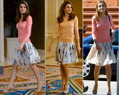 Queen Letizia opted for an ultra feminie style, repeating a Hugo Boss skirt and cardigan ensemble she as worn repeatedly since July 2013. Her outfit consisted of a salmon pink cami/cardigan twin-set and a watercolour print silk skirt. Both pieces are from the Hugo Boss Spring/Summer 2012 collection.