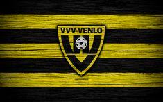 Download wallpapers Venlo FC, 4k, Eredivisie, soccer, Holland, football club, Venlo, wooden texture, FC Venlo