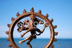 Bronze Statue of Indian Deity Shiva Nataraja lit by sun against a sea. Images Of Peace, The World Race, Nataraja, Image Now, Deities, Shiva, Are You Happy, Zen, Lion Sculpture