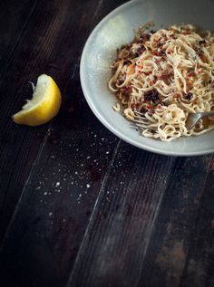 Homemade Spaghetti with Lemon, Garlic, Chilli and Mint {recipe}
