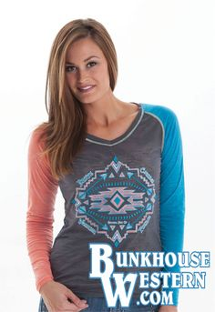 Blue Grey, Coral Blue, Gray, Cowgirl Tuff, Cross Jewelry, Long Sleeve Tee Shirts, Western Wear, Turquoise Jewelry, Country Girls