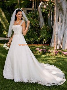 Robe de mariée avec traîne broderies applique de dentelle