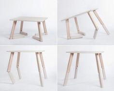 Conceito de mesa que a jovem designer norueguesa Caroline Olsson desenvolveu: feita em madeira de bétula, a mesa Bambi pode regular-se na altura graças às suas patas articuladas.