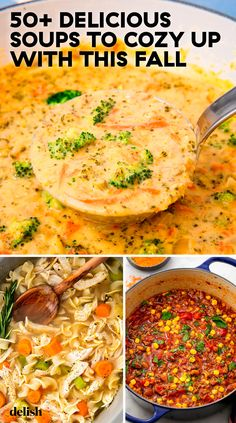 The Best Fall Soup Recipes, From Chicken Noodle to Broccoli Cheddar During fall, all we want to do is drink PSLs, wear sweaters, and eat soup. Slow Cooker Recipes, Crockpot Recipes, Cooking Recipes, Healthy Recipes, Healthy Fall Soups, Cooking Hacks, Ketogenic Recipes, Salad Recipes, Fall Soup Recipes