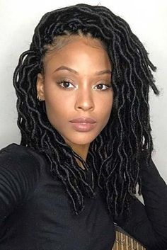 Latest faux dreads with marley hair Try in braids hairstyles cute Wavy Crochet Faux Locs in … Faux Locs Hairstyles, Crochet Braids Hairstyles, Protective Hairstyles, Girl Hairstyles, Protective Styles, Medium Hairstyles, Casual Hairstyles, Elegant Hairstyles, African Hairstyles