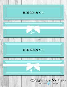 INSTANT DOWNLOAD - Bride & Co Water Bottle Labels - Tiffany Inspired Bridal Shower - DIY - Printable