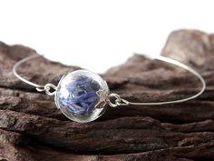 Flower Petals Bangle, Real Dried Flower Bracelet, Glass Globe Jewelry, Blue Cornflower Petals