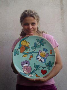ceramica come mestiere: Piatti da parete in ceramica con gufi. Tecnica Cue...