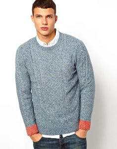 Native Youth Contrast Cuff Cable Sweater