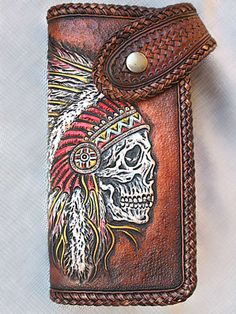 Biker Wallet Indian Skull, Hand Tooled, Hand Carved_belt loop and braided lace. Leather Carving, Leather Art, Tooled Leather, Custom Leather, Leather Tooling, Edc Wallet, Used Saddles, Leather Working Patterns, Indian Skull