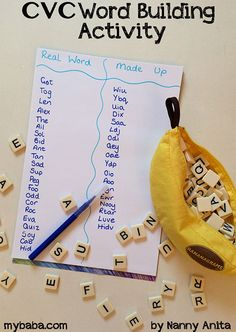 cvc word building game/ activity.  Great for helping with spelling, reading and vocabulary.  For school aged children.