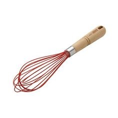 Cake Boss Wooden Tools - Beechwood 10-Inch Balloon Whisk with Overmold, Red #59480 - PotsandPans.com