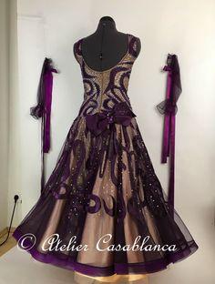SK-CAG2 ハンドメイドの絵柄が美しい紫&シャンパンピンク色のスタンダードドレス(9号) | Atelier Casablanca -ダンスドレスの部屋- - 楽天ブログ