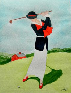 Lady Playing Westchester CC, 1920. 9x11.5, watercolor, nov 20, 2015-gift to Angelika Schmidt-Durdaut, Husum,   Schleswig-Holstein, Germany, sept 13, 2016