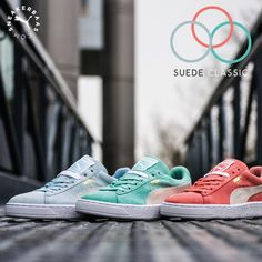Puma makes sure you have some color in your life with the Pastel pack. This pack consists out of three pair of Puma Suedes in baby blue, pastel pink and mint green.  Now online available | Priced at 99.99 EU | Wmns Sizes 36 - 42 EU