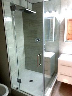 large glass shower enclosure