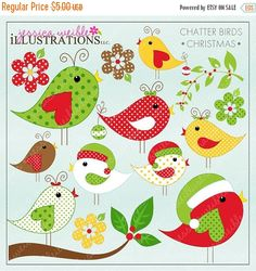 ON SALE Christmas Chatter Birds Cute Digital by JWIllustrations