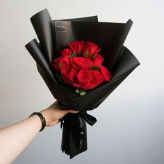 Classic red roses bouquet For order WA 601115755151 or DM E-mail Free delivery Sunway area Red Flower Bouquet, Boquette Flowers, Red Rose Bouquet, Bouquet Wrap, Hand Bouquet, Luxury Flowers, Rose Bouquet Valentines, Dark Rose, Black Pink