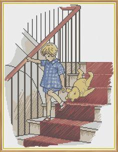 Winnie The Pooh - The Stairs Counted Cross Stitch Pattern (X-Stitch PDF) by HornswoggleStore, $6.00 (Milne, Children, Kids, Book, Literature, Classic)