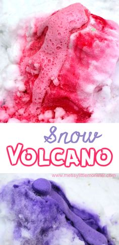 An easy baking soda and vinegar science experiment for toddlers, preschoolers and older kids. Fun winter activities for kids. # winter activities for kids Snow Volcano Science Experiment