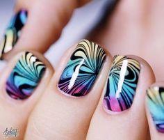 Amazing Water Marble Nail Art Designs!  #spring #nailart - bellashoot.com