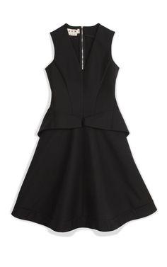 Coal Flap Pocket A-Line Dress by Marni