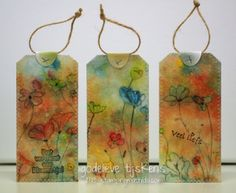 """Great idea for using up the wipes after you've cleaned your Gelli plate! """"October:  For my Sunday Scraps series, I recycled some painty baby wipes and turned them into these tags."""" StampingMathilda: Favorites in 2013"""