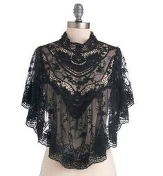 Liked on Pinterest: Victorian black lace cape poncho  LOVE & want! :-)