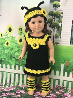 Adoring Doll Clothes Crochet Pattern 18 Doll Bumblebee Outfit Posts - free crochet doll clothes patterns, my life doll clothes patterns, bumblebee pattern My Life Doll Clothes, Baby Doll Clothes, Crochet Doll Clothes, Doll Clothes Patterns, Crochet Dolls, Doll Patterns, Barbie Clothes, Mom Clothes, Baby Patterns