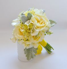 Yellow bouquet with tons of texture - roses, ranunculus, seeds, berries, real touch callas in cream, dusty miller, lamb's ear, hydrangea!! designed by blueorchidcreations (Etsy)