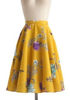 Eye for Ikebana Skirt - Yellow, Blue, Purple, White, Floral, Work, Daytime Party, A-line, Vintage Inspired, Spring, Exclusives, Long