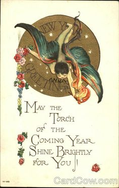 May the torch of the coming year shine brightly for you. #vintage #New_Years #card