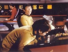 George Takei and Walter Koenig losing it while filming a scene for ST TOS.