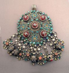 """Silver, coral, turquoises, enamel, resin, Algeria 