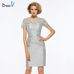d6725797d Barato Dressv Cinza Curto Mãe Do Vestido de Noiva Bainha Pescoço Da Colher  Mangas curtas Laço