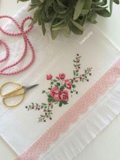 This Pin was discovered by Mel Cross Stitch Rose, Cross Stitch Borders, Cross Stitch Flowers, Cross Stitch Designs, Cross Stitching, Cross Stitch Patterns, Towel Embroidery, Ribbon Embroidery, Cross Stitch Embroidery