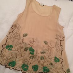 Anthropologie Beaded Top Worn once. Details are beautiful in person. Anthropologie Tops Tank Tops
