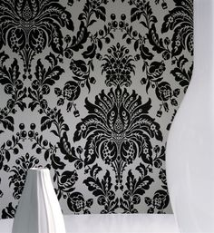 ELIZABETH Flock Effect Wallpaper Print in Black & White design by Graham and Brown