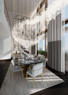 St James Penthouse | Extra large chandelier with crystals that creates a dining room that leaves no one indifferent | #chandelier #lightingdesign #luxuryhomes: For more inspirations: http://www.luxxu.net/