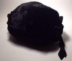 Vintage 1950's Black Rabbit Fur Muff