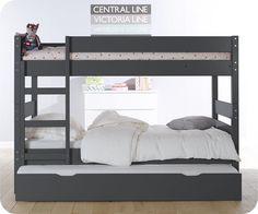 Le lit superposé idéal : hauteur réduite quand les enfants sont petits, puis kit de réhausse pour augmenter l'écart et gagner en confort plus tard. Lit gigogne avec pieds pour couchage double si besoin! Environ 800€ sans les matelas