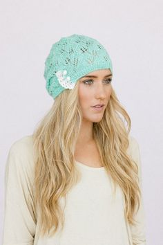 "Lacy Knitted Beanie Hat Mint Open Knit Beanie with Lace Crochet Trim and Ivory Satin Buttons - ""Can't Top Knit"" Beanie on Etsy, $28.99"