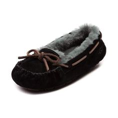 Give your feet the comfortable beauty rest they deserve in the toasty cute Bella II moccasin from UGG®! This exclusive black and gray UGG® Bella II casual slipper boasts a soft suede upper, fluffy sheepskin lining, leather lace closure. and lightweight rubber bottom for added grip and durability.