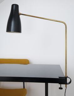 Pierre Guariche; #G5 Brass and Enameled Metal 'Bis' Clamp Lamp for Disderot, 1950.
