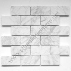 2x4 Bianco White Carrara Marble Mosaic Polished $9.95