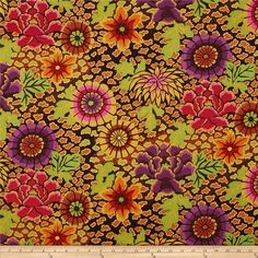 Designed by Kaffe Fassett for Westminster, this cotton print is perfect for quilting, apparel and home decor accents. Colors include black, brown, tan, gold, plum, red, orange, and hot pink.